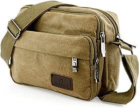khaki canvas satchel bag