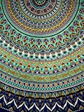 India Arts Geometric Pattern Round Cotton Tablecloth 90' x 90' Multi Color