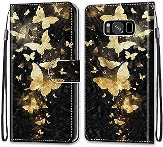 جراب محفظة ملون لهاتف Samsung Galaxy S8، تصميم إبداعي رائع من جلد البولي يوريثان مزود بفتحات للبطاقات وحزام معصم