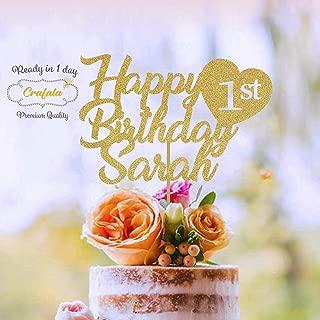 Happy Birthday Cake Topper, Birthday Custom Cake Topper Gold Glitter, Personalized Cake Topper, Custom Text Cake Topper
