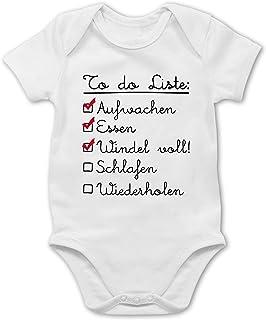 Shirtracer Strampler Motive - to do Liste: Aufwachen, Essen, Windel voll, Schlafen, Wiederholen - Baby Body Kurzarm für Jungen und Mädchen