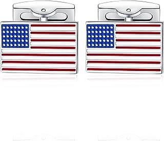 HONEY BEAR American USA Flag Cufflinks Mens Steel for Business Wedding Gift