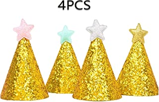 4Pcs,gold stars cloth party hats, birthday wedding festival parties,reusable cloth material