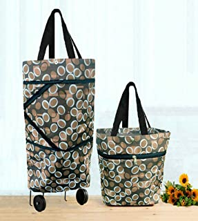 Cocobuy Collapsible Trolley Bags Folding Shopping Bag with Wheels Foldable Shopping Cart Reusable Shopping Bags Grocery Bags Shopping Trolley Bag on Wheels (Light Coffee)