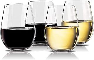 Vivocci Unbreakable Elegant Plastic Stemless Wine Glasses 20 oz | 100% Tritan Heavy Base..