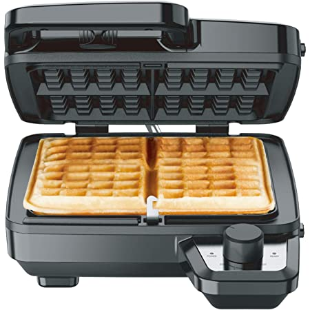 Elechomes Waffle Maker with Removable Plates, 4-Slice Belgian Waffle Iron, Anti-Overflow Nonstick Grids, Browning Control, Indicator Light, Compact Design, Recipes Included, Stainless Steel