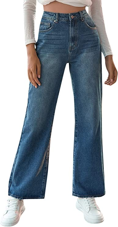 High Waisted Jeans | Women's Casual Denim Pants High Waisted Wide Leg Jeans