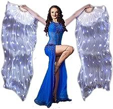 Nimiman LED Light Belly Dance Fan Veil 1 Pair 100% Silk Fan Veils