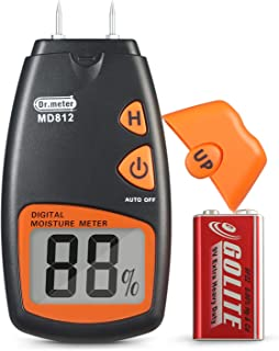 Wood Moisture Meter, Dr.meter Digital Portable Firewood Wall Paper Water Moisture Tester, Digital LCD Display with 2 Test Probe Pin and one 9V Battery, Range 5% - 40%, Accuracy: +/-1%, MD812