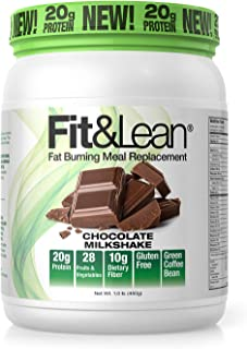 Fit & Lean Meal Shake Fat Burning Meal Replacement with Protein, Fiber, Probiotics and Organic Fruits & Vegetables and Gre...
