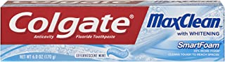 Colgate MaxClean SmartFoam with Whitening Toothpaste, Effervescent Mint 6 oz (Pack of 2)