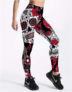 98597390f4a5da Monicas-Dream Leggings Women's Skull&Flower Black Leggings Digital Print Pants  Trousers Stretch Pants Plus Size