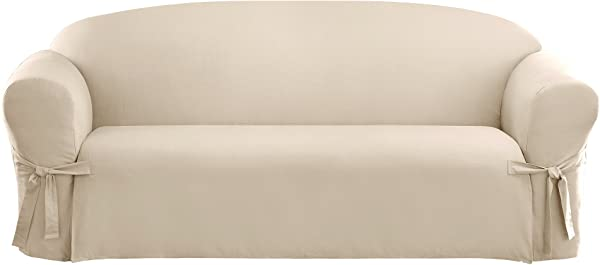 Sure Fit Cotton Duck Sofa Slipcover Natural SF26808 34 X 72 X 40 Inches