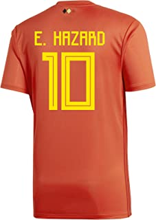 E. Hazard #10 Belgium Home Youth Soccer Jersey World Cup Russia 2018