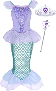 Cotrio Girls Little Mermaid Ariel Costume Toddlers Princess Dress Up Birthday Party Dresses