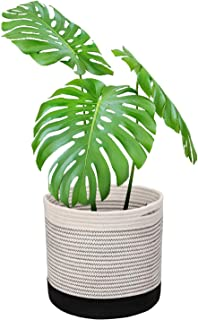 Magicfly Basket Planter, Woven Basket for Plant for 11 Inch Planter Pot Indoor, 12 X 12 Inch Modern Storage Organizer with Handle for Home Décor, Black and White