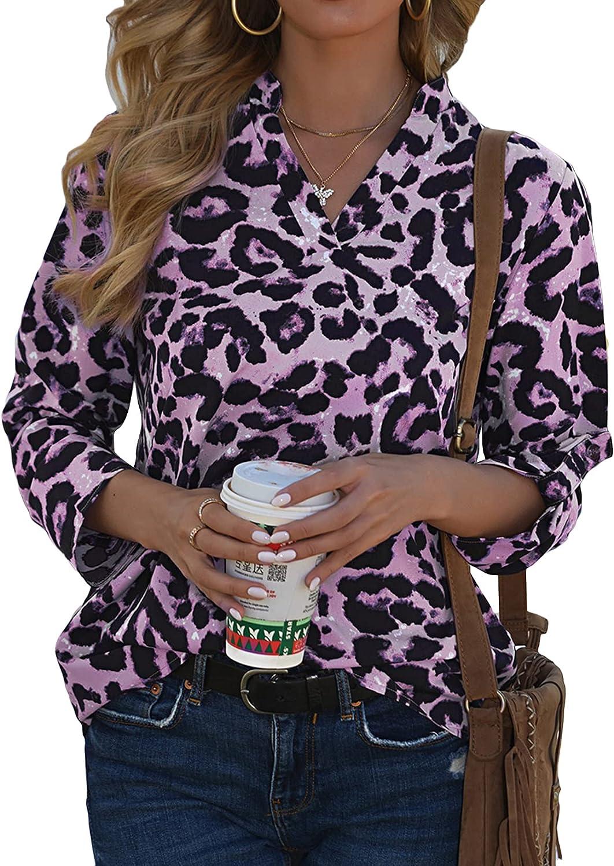 Lu's Chic Women's V Neck Tops Cheetah Shirt Casual Blouse Leopard Tunic Half Sleeve Cotton Soft