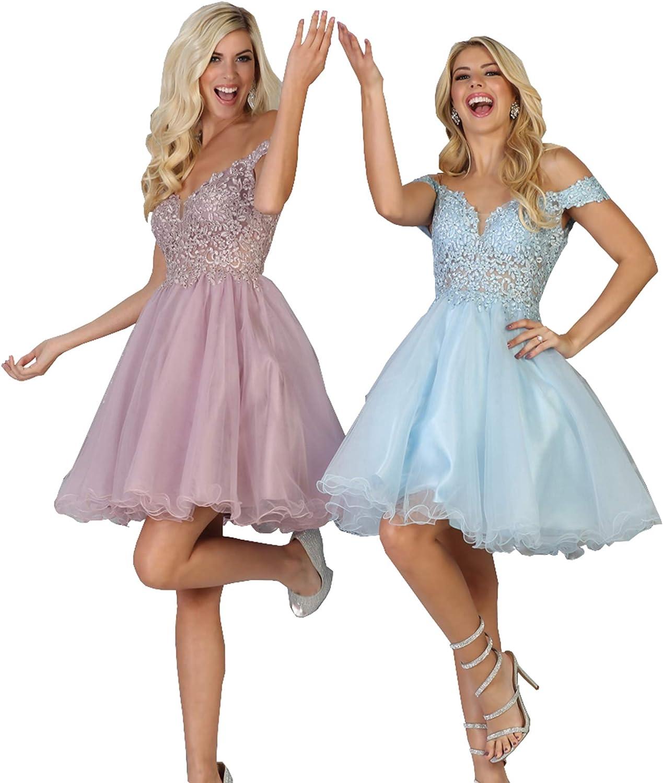 Formal Dress Shops Inc FDS1663 Off The Shoulder Embroidered Cocktail Dress