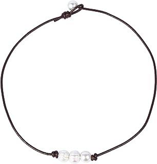 بوني جلد أصلي 3 حبات لؤلؤ بيضاء قلادة معقودة مجوهرات يدوية للنساء