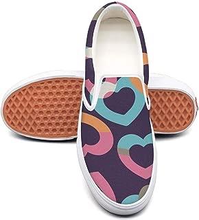 RegiDreae Canvas Slip on Sneakers for Women Seamless Rainbow Hearts Fashion Sneaker