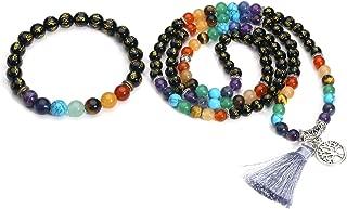 6mm Natural Black Agate/Red Agate Chakra Bracelet + 108 Prayer Mala Beads Healing Gemstone Necklace w/Tree of Life Tassel Charm