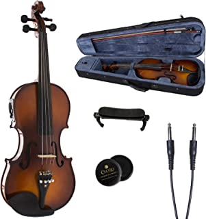 Cecilio 4/4 CVNAE-330+SR Ebony Fitted Acoustic/Electric Violin in Antique Varnish