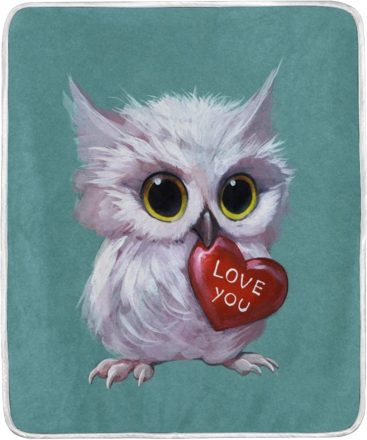 ALIREA 3D Owl Holding A Heart Super Soft Warm Blanket Lightweight Throw Blankets for Bed Couch Sofa Travelling Camping 60 x 50 Inch for Kids Boys Girls