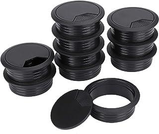 Pasacables de Mesa Negro Cable de Escritorio de La Computadora de La Pc Circular de Plástico para Office Home Worktop 60mm 10 Piezas