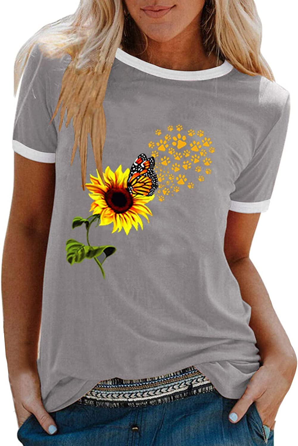 Awrang Summer Tops for Women Casual Short Sleeve Loose Fit Sunflower Graphic Tees Vintage Shirts Blouses