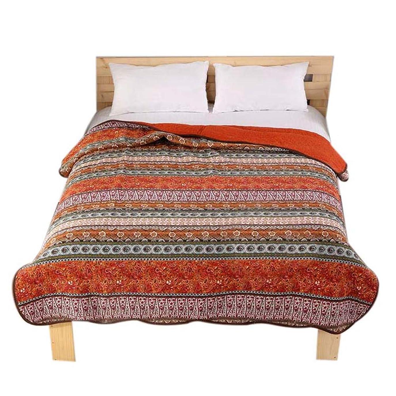 キャンプ建築家活性化gardenlightess ベッドカバー ベッドスプレッド マルチ カバー キルト シングル 綿100% 150×200cm ストライブ レッド