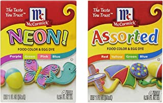 Food color and egg dye pack with (1) Neon Purple, Green, Pink and Blue 4-pack and; (1) Assorted Red, Yellow, Green and Blue Food Color by and MCCORMICK and Free Guide to Food Color Types and How to Use Them.