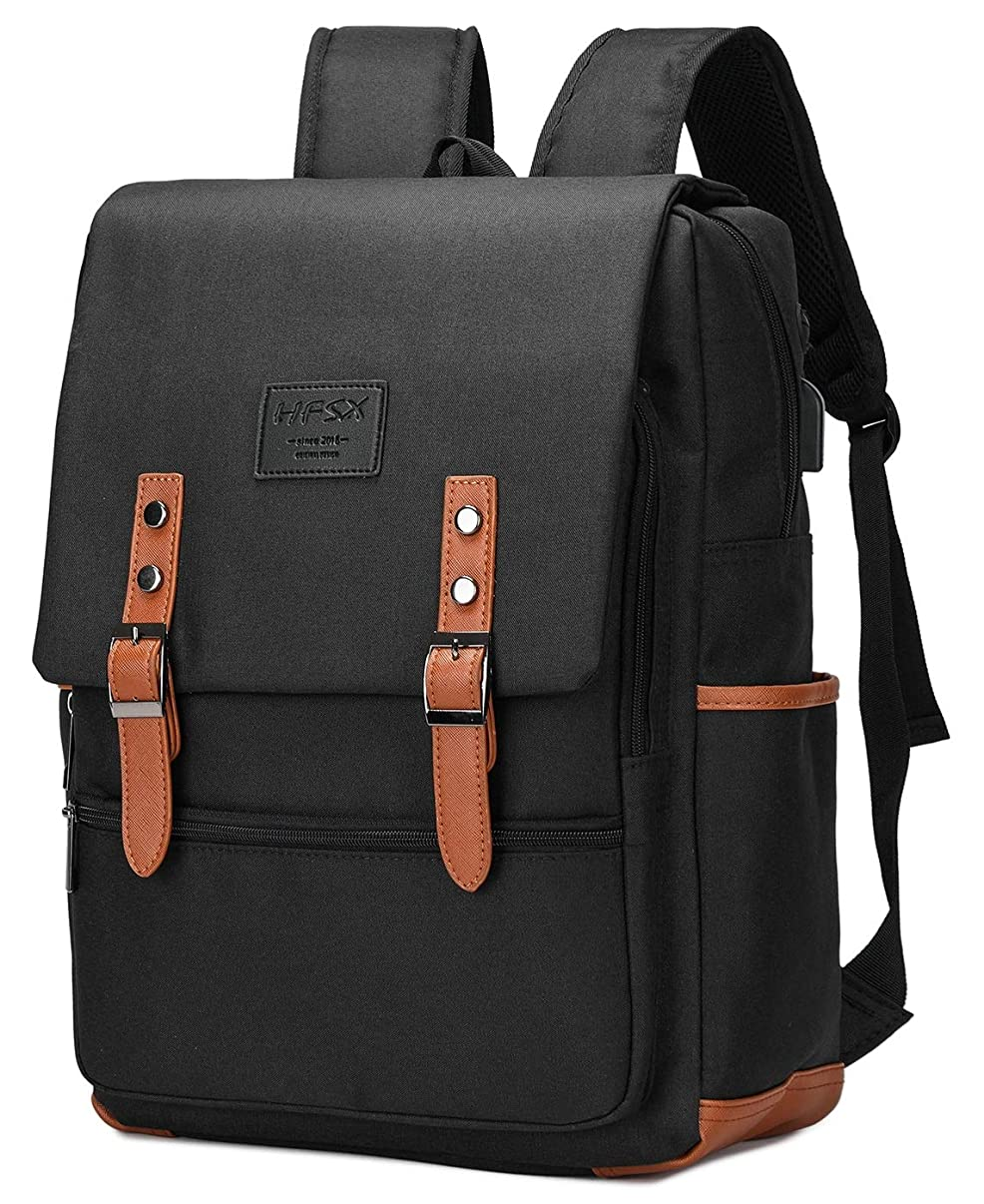 HFSX Vintage Laptop Backpack for Women Men School College Backpack with USB Charging Port Fashion Backpack Fits 15.6 inch Notebook Black