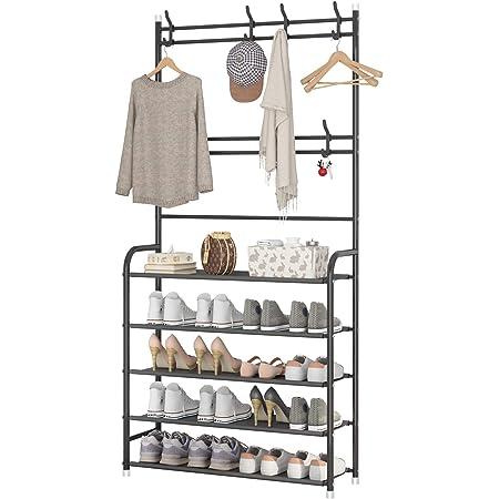 UDEAR Portemanteau, Design 3 en 1, Grande capacité, avec étagère de Rangement pour Chaussures à 5 Niveaux et 8 Crochets pour Chambre à Coucher, Couloir, entrée, Facile à Assembler, Noir