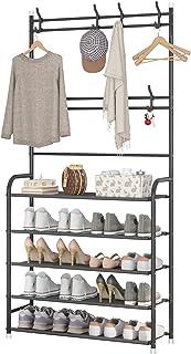 UDEAR Portemanteau, Design 3 en 1, Grande capacité, avec étagère de Rangement pour Chaussures à 5 Niveaux et 8 Crochets po...