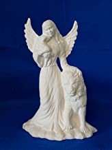 Angel of Peace with Lion and Sheep Figurine unpainted ceramic bisque ready to be painted