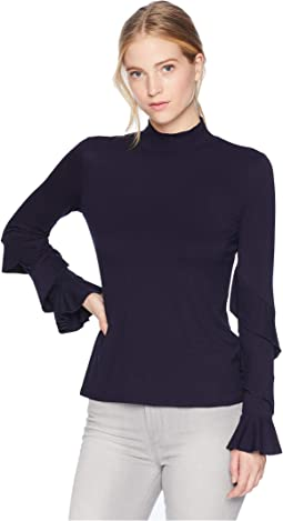 Long Sleeve Ruffle Sleeve Rib Knit Top