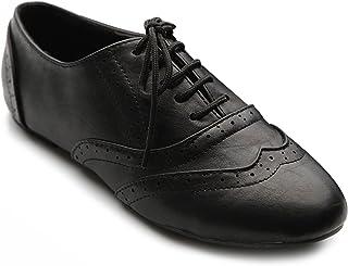 Ollio Women's Shoe Classic Lace Up Dress Low Flat Heel Oxford
