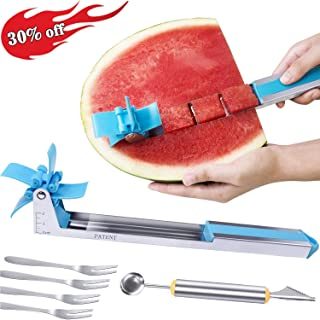 Watermelon Slicer Fruit Knife-PATENTED-RUCACIO Melon and Cantaloupe Fruit Slicer Carving and Cutting Tools for Home Easy Grip Kitchen Gadgets Set with 2 in 1 Melon Baller & Fruit Carve 4 Forks (BLUE)