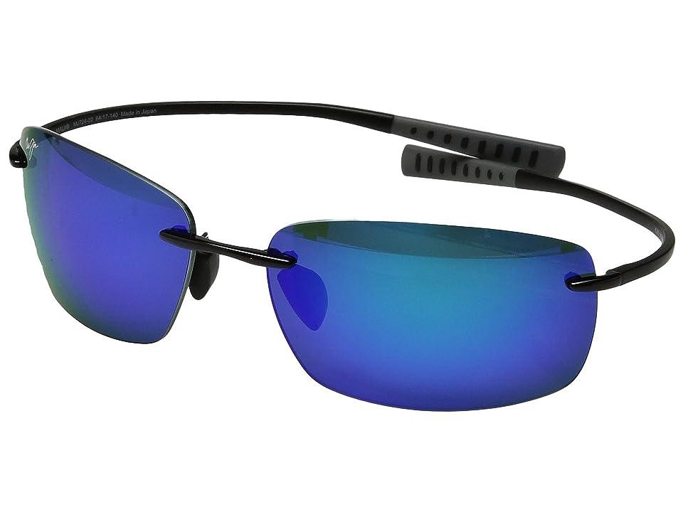 Maui Jim Kumu (Gloss Black/Blue Hawaii) Polarized Fashion Sunglasses