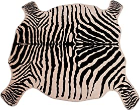 Faux Fur Printed Brown White Cow Hide Area Rug 4.1X4.2 Feet Washable Animal Carpet for Home & Office (zebra print)