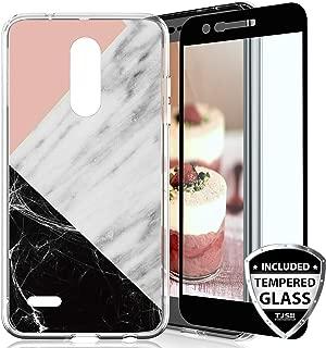 TJS Case for LG Aristo 2/Aristo 2 Plus/Aristo 3/Aristo 3 Plus/Tribute Dynasty/Tribute Empire/Fortune 2 [Full Coverage Tempered Glass Screen Protector] Marble Transparent Clear Soft Skin (Black/Pink)
