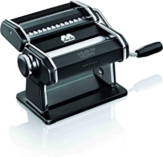 Marcato Atlas Pasta Machine, Made in Italy, Black, Includes Pasta Cutter, Hand Crank, and..