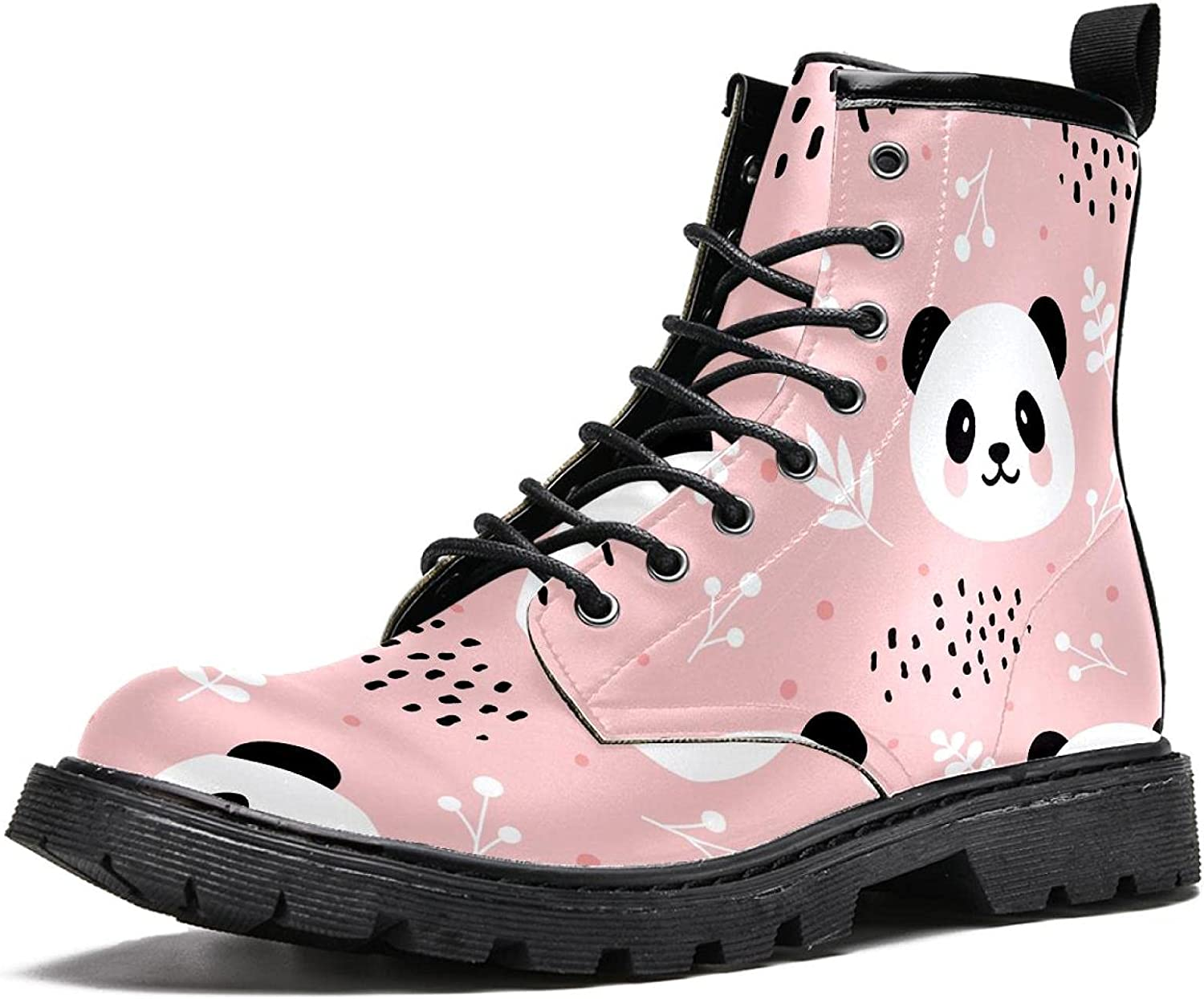 Pink Tree Branch Panda, Men's Stylish High Top Boots Hiking Boots Durable Leather Waterproof and Non-Slip Boots Suede Lining Casual Soft and Warmth