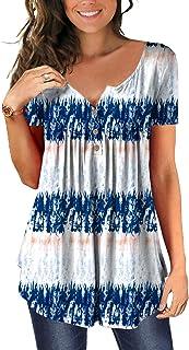 Women's Shirts Casual Blouse Short Sleeve Ruffle Button...
