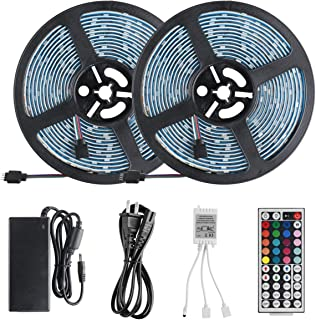 LED Strip Lights Kit, LUCKIE Waterproof 2x5m(32.8ft) 5050 RGB 300 led Strips Flexible Rope Light Color Changing with 44 Key Remote Controller, LED Lighting Strips for Home Kitchen Indoor Decoration