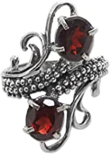 NOVICA Garnet .925 Sterling Silver Cocktail Ring 'Magical Union in Red'
