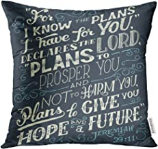 Emvency Throw Pillow Cover I Know The Plans Have You Declares Lord to Prosper and Not Harm Give Hope Future Bible Quote Jeremiah Decorative Pillow Case Home Decor Square 18x18 Inches Pillowcase