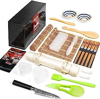 Sushi Making Kit, Delamu 21 in 1 Sushi Maker Bazooker Roller Kit with Bamboo Mats, Chef's Knife, Trigangle/Nigiri/Gunkan S...