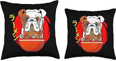 Funny English Bulldog Dog Mom Gift Ramen English Bulldog Kawaii Anime Japanese Gift Black Throw Pillow, 18x18, Multicolor