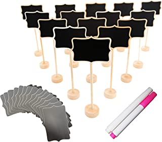 15 Pack Wood Mini Chalkboard Signs (Water-Based Chalk and Replacement Stickers Are Included) Small Rectangle Chalkboards Blackboard for Weddings, Message Board Signs and Special Event Decorations